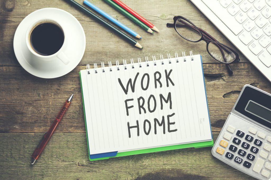 notebook written work from home text