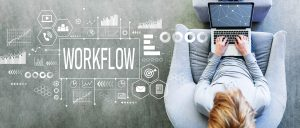 Workflow with man using a laptop
